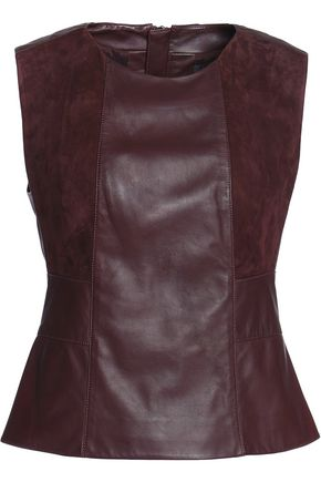 BELSTAFF Carlow suede-paneled leather top