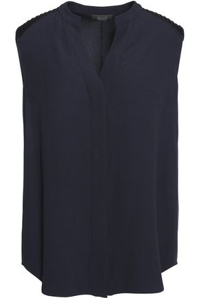 BELSTAFF Grafton ribbed satin-paneled crepe top
