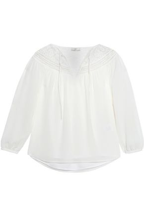JOIE Belleville corded lace-trimmed silk top