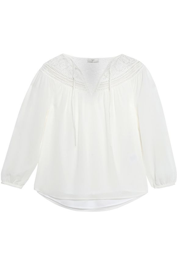 Joie Woman Belleville Corded Lace-trimmed Silk Top Ivory Size S Joie Discount For Nice Comfortable For Sale uEZ3DrO