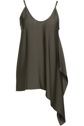 HELMUT LANG Asymmetric draped silk-blend top