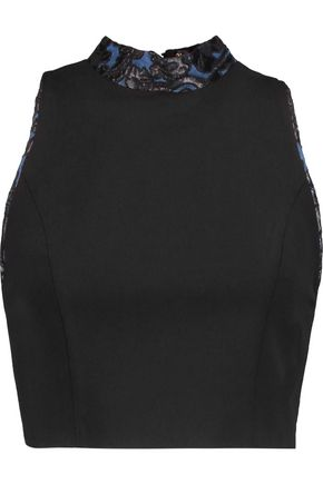 ALICE + OLIVIA Jilliana jacquard-trimmed crepe top