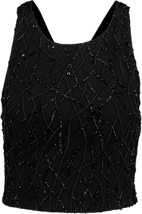 ALICE + OLIVIA Joel sequinned crepe top