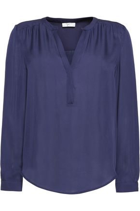 JOIE Carita gathered silk blouse