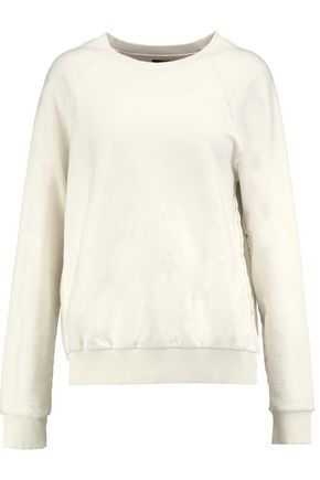 JOSEPH Paneled ribbed cotton sweatshirt