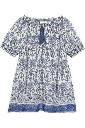 JOIE Masha ruffle-trimmed printed silk-chiffon top