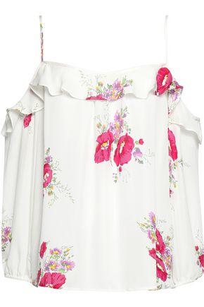 JOIE Birtha cold-shoulder ruffled floral-print silk crepe de chine top