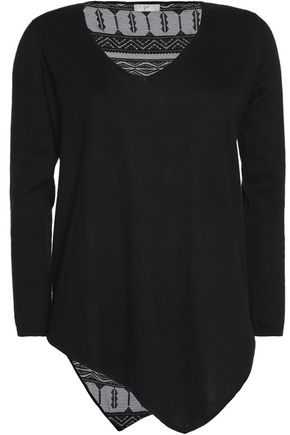 JOIE Tambrel embroidered gauze-paneled cotton sweater