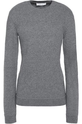 CARVEN Faux leather-trimmed wool-blend sweater