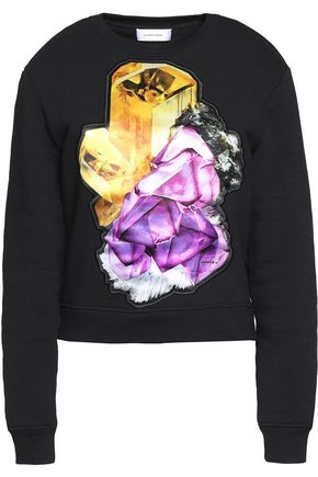 CARVEN Satin-paneled cotton-blend sweater