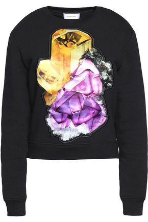 CARVEN Satin-paneled cotton-blend sweater