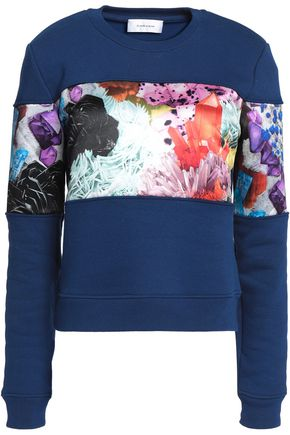 CARVEN Printed satin-paneled cotton-blend sweater
