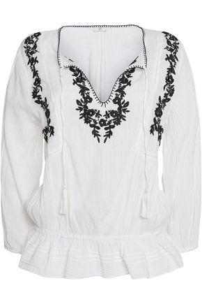 JOIE Virani ruffled embroidered cotton-gauze top