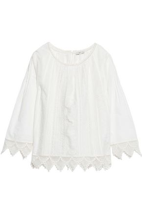 JOIE Orla crochet-trimmed broderie anglaise cotton top