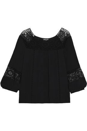 JOIE Bellange lace-paneled cady top