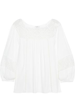 JOIE Bellange guipure lace-paneled cady top