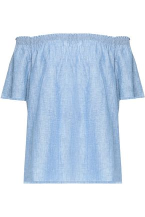 JOIE Amesti off-the-shoulder linen and cotton-blend chambray top