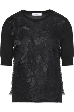 CARVEN Lace-paneled merino wool top