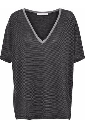 PIERRE BALMAIN Striped embroidered stretch-jersey T-shirt