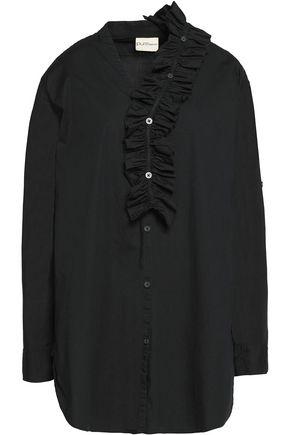 DKNY Ruffle-trimmed cotton-blend shirt