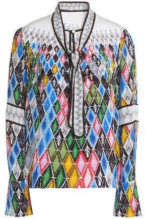 PETER PILOTTO Printed silk-crepe blouse
