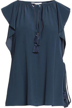 CHLOÉ Tasseled silk-crepe blouse
