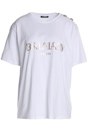 c7b87cf8 Button-embellished metallic printed cotton-jersey T-shirt   BALMAIN ...