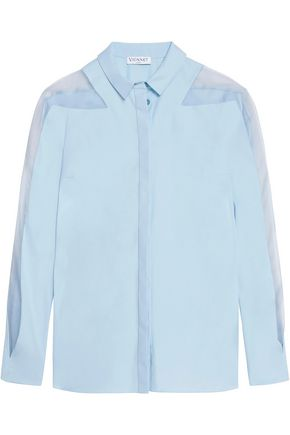 VIONNET Silk organza-trimmed cotton-blend poplin shirt