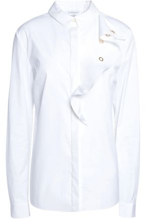VIONNET Ruffled stretch cotton-blend shirt