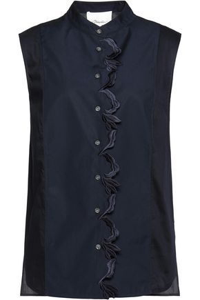 3.1 PHILLIP LIM Embroidered twill-paneled cotton top