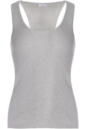 EQUIPMENT Ribbed cotton, silk and cashmere-blend tank
