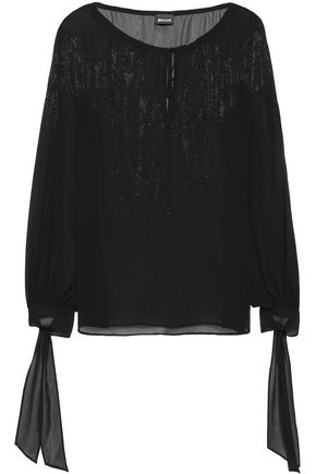 JUST CAVALLI Sequin-embellished chiffon blouse
