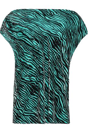 JUST CAVALLI One-shoulder crystal-embellished zebra-print velvet top