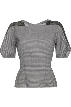 VIONNET Silk organza-trimmed houndstooth wool-blend top