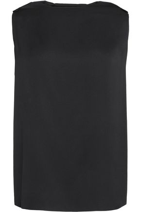 VIONNET Draped embellished washed stretch-silk top