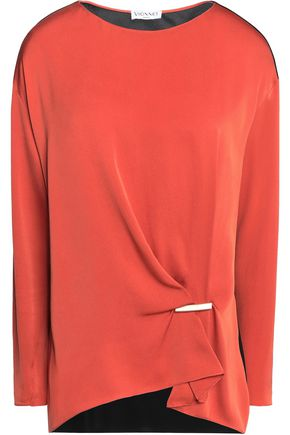 VIONNET Gathered silk-blend crepe de chine and chiffon top