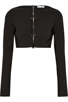 MUGLER Cropped embellished cutout stretch-cady top