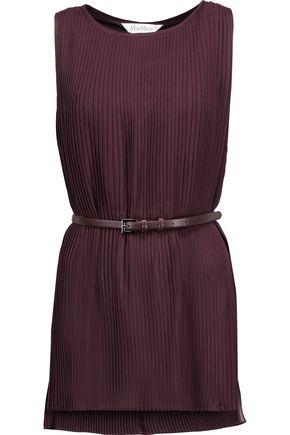 MAX MARA Belted plissé-georgette top