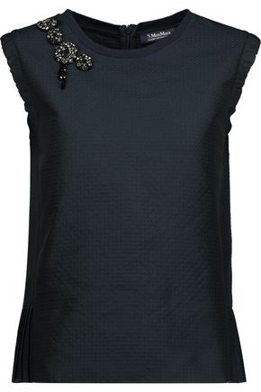 MAX MARA Brooch-embellished pleated jacquard top