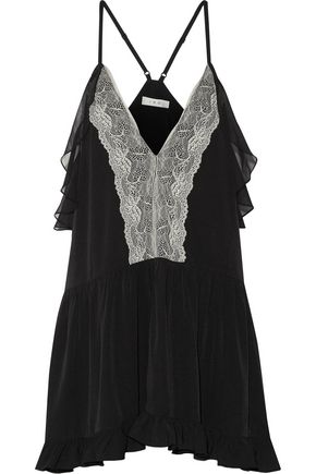 IRO Bellie ruffled lace-paneled crepe de chine top