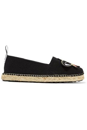 KENZO Faux leather-trimmed appliquéd felt espadrilles