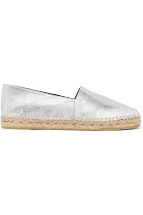 KENZO Metallic embossed leather espadrilles
