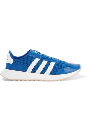ADIDAS ORIGINALS Suede-paneled stretch-knit sneakers