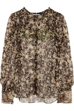 GIVENCHY Silk-chiffon blouse with turtle print