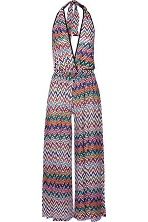 MISSONI Metallic crochet-knit halterneck jumpsuit