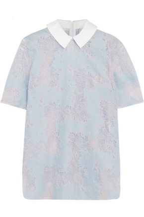 CARVEN Cotton twill-trimmed lace blouse