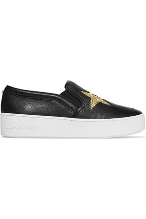 MICHAEL MICHAEL KORS Pia glittered textured-leather slip-on sneakers