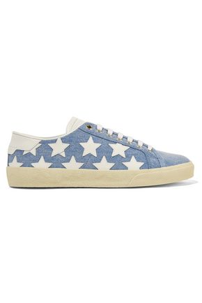 SAINT LAURENT Court Classic leather-appliquéd denim sneakers