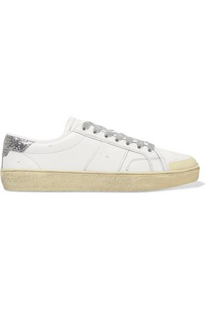 SAINT LAURENT Court Classic glitter-trimmed leather sneakers