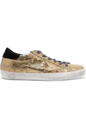 cfe6fa5e383e GOLDEN GOOSE DELUXE BRAND Super Star distressed metallic ostrich-effect leather  sneakers ...
